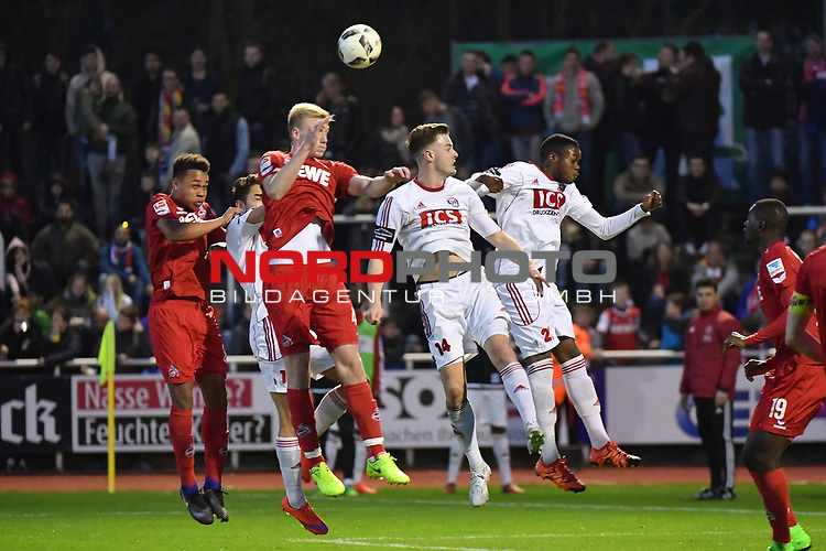 23.03.2017, BELKAWarena, Bergisch Gladbach , GER, FSP, Testspiel, SV Bergisch Gladbach 09 (MRL) vs. 1. FC K&ouml;ln ( 1.FBL) <br /> <br /> im Bild / picture shows: <br /> Kopfball durch Frederik S&oslash;rensen / Sorensen (1. FC Koeln #4),<br /> <br /> <br /> <br /> Foto &copy; nordphoto / Meuter