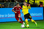 10.11.2018, Signal Iduna Park, Dortmund, GER, 1.FBL, Borussia Dortmund vs FC Bayern M&uuml;nchen, DFL REGULATIONS PROHIBIT ANY USE OF PHOTOGRAPHS AS IMAGE SEQUENCES AND/OR QUASI-VIDEO<br /> <br /> im Bild | picture shows:<br /> Joshua Kimmich (Bayern #32) im Duell mit Jacob Bruun Larsen (Borussia Dortmund #34), <br /> <br /> Foto &copy; nordphoto / Rauch