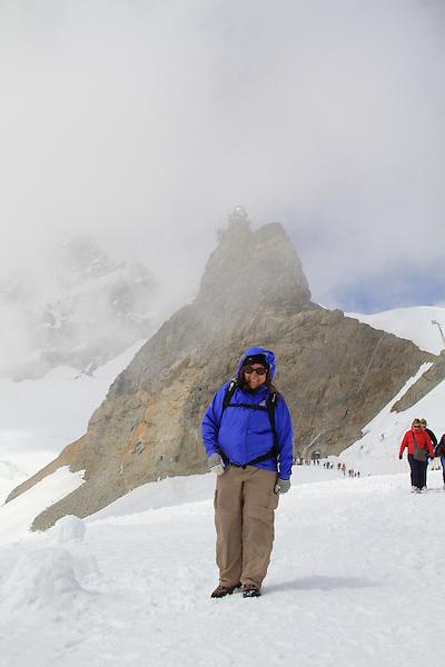 Beth in the Alps above Lauterbrunnen, Switzerland.