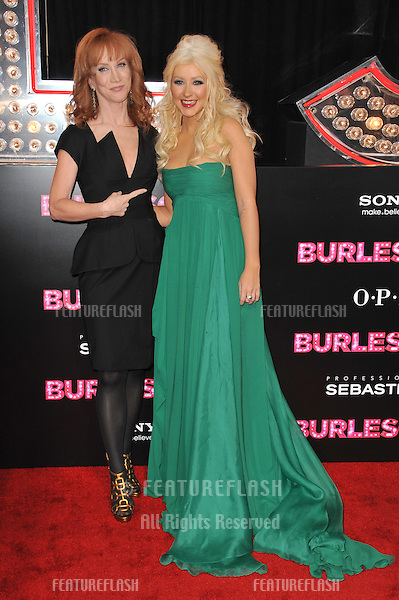 "Christina Aguilera & Kathy Griffin (left) at the Los Angeles premiere of Aguilera's new movie ""Burlesque"" at Grauman's Chinese Theatre, Hollywood..November 15, 2010  Los Angeles, CA.Picture: Paul Smith / Featureflash"