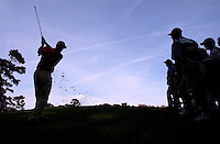 PGA Tour player Craig Perks pitches out of the rough over a hillside along the 14th fairway of the TPC Sawgrass Stadium course during play in The Players Championship.