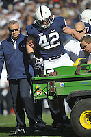 17 November 2012:  Penn State LB Michael Mauti (42) injured his knee during the first half and is carted off the field.  The Penn State Nittany Lions vs. the Indiana Hoosiers at Beaver Stadium in State College, PA.