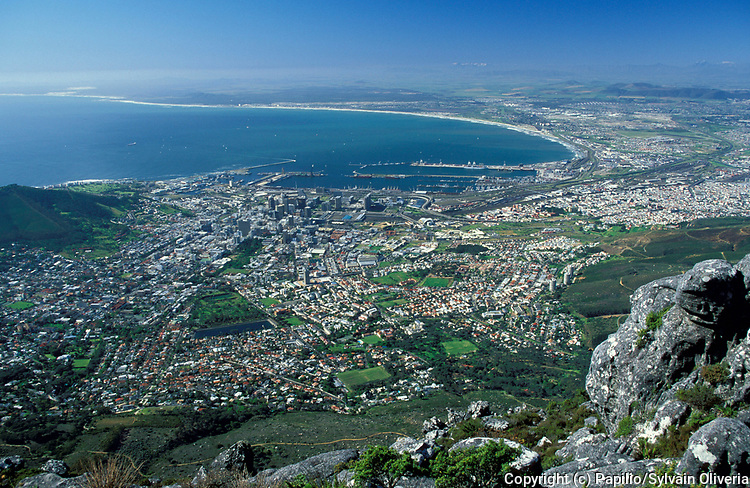 View of Cape Town and coastline, South Africa, buildings, city, houses, bay
