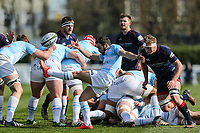 Jordan Burns of Bedford Blues kicks during the Greene King IPA Championship match between London Scottish Football Club and Bedford Blues at Richmond Athletic Ground, Richmond, United Kingdom on 25 March 2017. Photo by David Horn / PRiME Media Images.