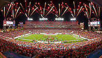 TAMPA, FL - NOVEMBER 11: Fireworks illuminate the sky during the halftime Ring of Honor ceremony for Warren Sapp #99 of the Tampa Bay Buccaneers during the game against the Miami Dolphins at Raymond James Stadium on November 11, 2013, in Tampa, Florida. The Buccaneers won 22-19. (photo by Matt May/Tampa Bay Buccaneers)