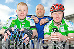 Shane Cahillane, Trevor Wharton and Ger Knee pictured at the start of the IHCPT fun cycle in Killarney on Monday morning.........