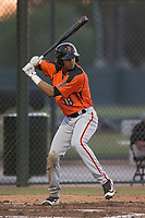 AZL Giants Orange right fielder George Bell (38) at bat during an Arizona League game against the AZL Athletics at Lew Wolff Training Complex on June 25, 2018 in Mesa, Arizona. AZL Giants Orange defeated the AZL Athletics 7-5. (Zachary Lucy/Four Seam Images)