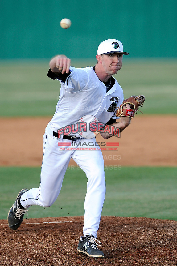 Pitcher Tyler Jackson (22) of the University of South Carolina Upstate Spartans in a game against the College of Charleston Cougars on Tuesday, March 31, 2015, at Cleveland S. Harley Park in Spartanburg, South Carolina. Charleston won, 10-0. (Tom Priddy/Four Seam Images)