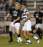 The number 5 ranked Charlotte 49ers play the University of South Carolina Gamecocks at Transamerica field in Charlotte.  Charlotte won 3-2 in the second overtime.  Isaac Caughran (23), Braeden Troyer (13)