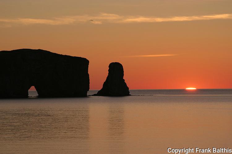 Perce rock at sunrise