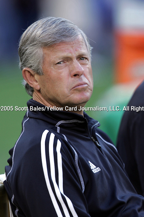 21 May 2005: Kansas City Head Coach Bob Gansler, pregame. DC United defeated the Kansas City Wizards 3-2 at RFK Stadium in Washington, DC in a regular season Major League Soccer game. .
