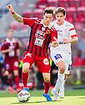 S&ouml;dert&auml;lje 2015-08-01 Fotboll Superettan Assyriska FF - &Ouml;stersunds FK :  <br /> &Ouml;stersunds Jamie Hopcutt i kamp om bollen med Assyriskas Fredrik Holster under matchen mellan Assyriska FF och &Ouml;stersunds FK <br /> (Foto: Kenta J&ouml;nsson) Nyckelord:  Assyriska AFF S&ouml;dert&auml;lje Fotbollsarena Superettan &Ouml;stersund &Ouml;FK