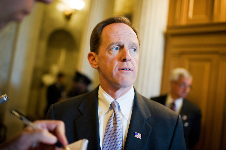 UNITED STATES - JUNE 14:  Sen. Pat Toomey, R-Pa., talks with reporters on his way to the republican senate policy luncheon in the Capitol.  (Photo By Tom Williams/Roll Call)
