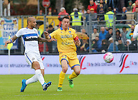 Felipe Melo  and Alesandro Frara during the  italian serie a soccer match,between Frosinone and Inter      at  the Matusa   stadium in Frosinone  Italy , April 09, 2016