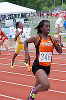 Zjando Samuels runs a leg on the Waynesville 4x200 meter relay that went on to finish 7th in the Class 4 Girls race at the 2013 MSHSAA Class 3-4 State Track and Field Championships, Saturday, May 25, in Jefferson City.
