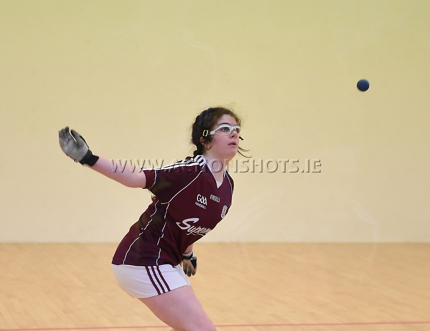 19/03/2018; 40x20 All Ireland Juvenile Championships Finals 2018; Kingscourt, Co Cavan;<br /> Girls Under-17 Doubles; Galway (Orla Whyte/Aoife Nic Dhonnacha) v Limerick (Ciara McCarthy/Keri Murphy)<br /> Photo Credit: actionshots.ie/Tommy Grealy