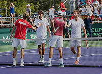 Moscow, Russia, 16 th July, 2016, Tennis,  Davis Cup Russia-Netherlands, Doubles : Matwe Middelkoop (NED) / Robin Haase (NED) losing to Konstatin Kravchuk and Andrey Rubley (RUS)<br /> Photo: Henk Koster/tennisimages.com