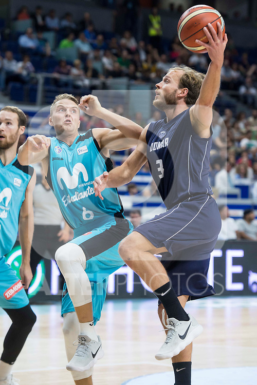 Movistar Estudiantes Ludde Hakanson and Donar Groningen Aron Roye during Basketball Champions League match between Movistar Estudiantes and Donar Groningen at Wizink Center in Madrid, Spain October 02, 2017. (ALTERPHOTOS/Borja B.Hojas)