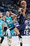 Movistar Estudiantes Ludde Hakanson and Donar Groningen Aron Roye during Basketball Champions League match between Movistar Estudiantes and Donar Groningen at Wizink Center in Madrid, Spain October 02, 2017. (ALTERPHOTOS/Borja B.Hojas)