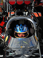 Oct. 31, 2008; Las Vegas, NV, USA: NHRA top fuel dragster driver Tim Boychuk during qualifying for the Las Vegas Nationals at The Strip in Las Vegas. Mandatory Credit: Mark J. Rebilas-