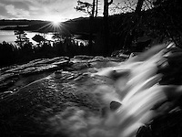 Eagle Creek Falls and Lake Tahoe with sunrise. California