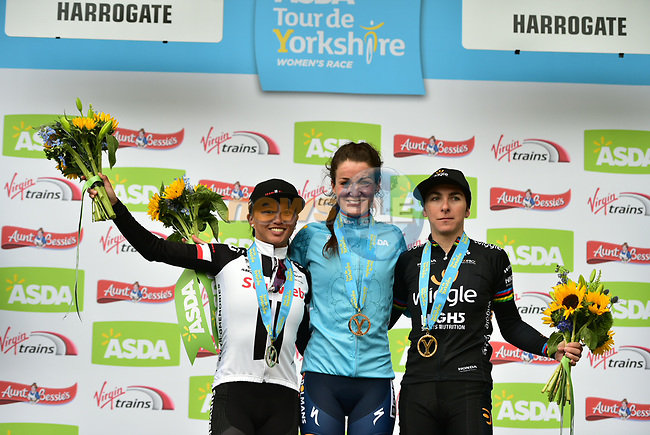 Elizabeth Deignan (ENG) Boels Dolmans wins the ASDA Women's Tour de Yorkshire 2017 with Giorgia Bronzini (ITA) Wiggle-High5 in 2nd place and Coryn Rivera (USA) Team Sunweb in 3rd, running 122.5km from Tadcaster to Harrogate, England. 29th April 2017. <br /> Picture: ASO/P.Ballet | Cyclefile<br /> <br /> <br /> All photos usage must carry mandatory copyright credit (&copy; Cyclefile | ASO/P.Ballet)