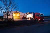 Grain lorry being loaded at night from on farm storage<br /> &copy;Tim Scrivener Photographer 07850 303986<br />      ....Covering Agriculture In The UK....