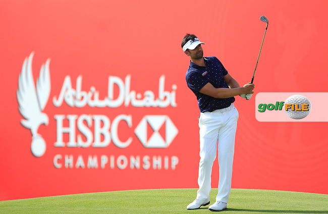 Lee Slattery (ENG) on the 18th green during Round 3 of the Abu Dhabi HSBC Championship on Saturday 21st January 2017.<br /> Picture:  Thos Caffrey / Golffile<br /> <br /> All photo usage must carry mandatory copyright credit    ( &copy; Golffile | Thos Caffrey)