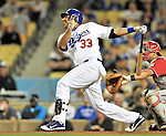 23 July 2011: Los Angeles Dodgers outfielder Juan Rivera in action against the Washington Nationals at Dodger Stadium in Los Angeles, California. The Dodgers rallied to defeat the Nationals 7-6 on a Rafael Furcal walk-off, RBI double in the bottom of the 9th inning. Mandatory Credit: Ed Wolfstein Photo