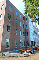 Central Connecticut State University.  New Academic Building.  Project No: BI-RC-324.Architect: Burt Hill Kosar Rittelmann Associates    Contractor: Gilbane Building Company, Glastonbury, CT..James R Anderson Photography   New Haven CT   photog.com.Date of Photograph: 18 October 2012   Image No. 25  Vertical View.Camera View: North-northwest. East Elevation.