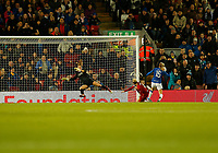 17th November 2019; Anfield, Liverpool, Merseyside, England; Womens Super League Footballl, Liverpool Women versus Everton; Molly Pike of Everton misses a chance to put her side 2-0 ahead in the final minutes as her shot is blocked