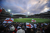3rd December 2017, Adelaide Oval, Adelaide, Australia; The Ashes Series, Second Test, Day 2, Australia versus England; Barmy Army fans waving flags as the sun sets over Adelaide oval