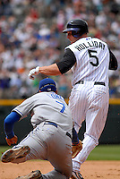 04 May 2008: LosAngeles Dodgers 1st baseman James Loney tags out Colorado Rockies left fielder Matt Holliday in a blooper play. The Colorado Rockies scored one run and the Dodgers recorded one out on the play during the team's game on May 4, 2008 at Coors Field in Denver, Colorado. The Rockies defeated the Dodgers 7-2.