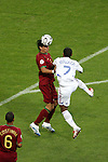 05 July 2006: Meira Fernando (POR) (left) heads the ball away from the challenge of Florent Malouda (FRA) (7). France defeated Portugal 1-0 at the Allianz Arena in Munich, Germany in match 62, the second semifinal game, in the 2006 FIFA World Cup.