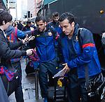Pedro and Dani Alves arrive at Barcelona's city centre hotel