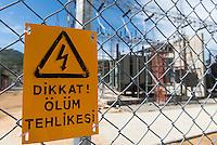 TURKEY, Mengen, Köprübaşı HEPP, hydro power station of Yueksel Holding / TUERKEI, Mengen, Köprübaşı HEPP, Wasserkraftwerk der Yueksel Holdung, Trafo Station und Umspannwerk