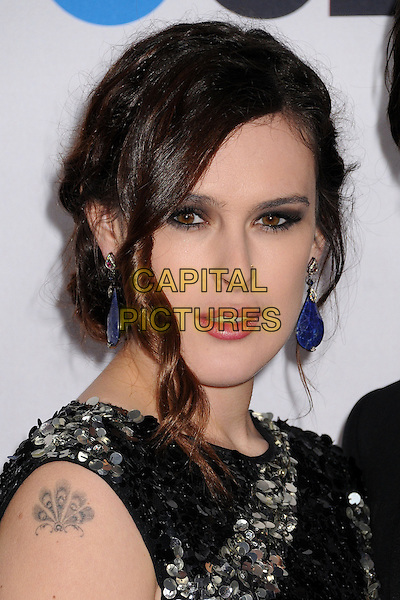 Rumer Willis .People's Choice Awards 2013 - Arrivals held at Nokia Theatre L.A. Live, Los Angeles, California, USA..January 9th, 2013.headshot portrait black silver stripes striped sequins sequined paillettes embellished jewel encrusted tattoo dangling blue earrings.CAP/ADM/BP.©Byron Purvis/AdMedia/Capital Pictures.