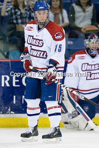 Scott Campbell (UMass-Lowell - 15) - The Northeastern University Huskies defeated the University of Massachusetts-Lowell Riverhawks 3-1 on Saturday, February 28, 2009, at the Paul E. Tsongas Arena in Lowell, Massachusetts.