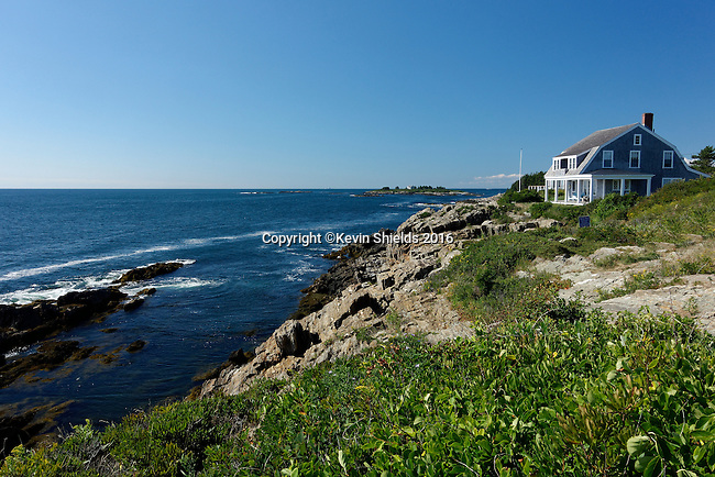 Oceanfront home and trail, Harpswell, Cumberland County, Maine, USA