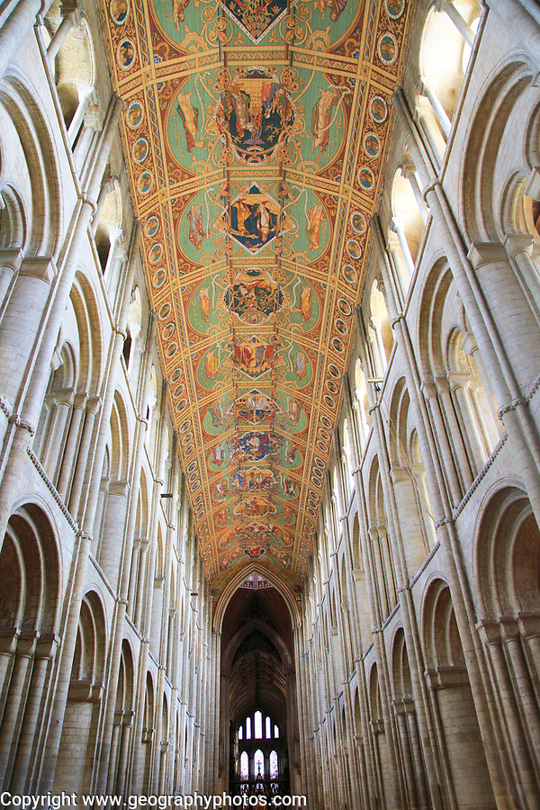 Painted ceiling inside Ely cathedral church, Ely, Cambridgeshire, England, UK