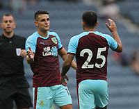 Burnley's Aaron Lennon celebrates scoring his sides first goal <br /> <br /> Photographer Mick Walker/CameraSport<br /> <br /> Football Pre-Season Friendly - Preston North End  v Burnley FC  - Monday 23st July 2018 - Deepdale  - Preston<br /> <br /> World Copyright &copy; 2018 CameraSport. All rights reserved. 43 Linden Ave. Countesthorpe. Leicester. England. LE8 5PG - Tel: +44 (0) 116 277 4147 - admin@camerasport.com - www.camerasport.com