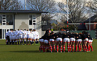 The teams huddle before the 2017 International Women's Rugby Series rugby match between England Roses and Canada at Rugby Park in Christchurch, New Zealand on Tuesday, 13 June 2017. Photo: Dave Lintott / lintottphoto.co.nz