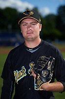 West Virginia Black Bears relief pitcher Beau Sulser (58) poses for a photo before a game against the Batavia Muckdogs on June 26, 2017 at Dwyer Stadium in Batavia, New York.  Batavia defeated West Virginia 1-0 in ten innings.  (Mike Janes/Four Seam Images)