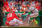 9 June 2013: Minnesota Twins catcher Ryan Doumit gets Washington Nationals outfielder Jayson Werth out at the plate in the 4th inning at Nationals Park in Washington, DC. The Nationals shut out the Twins 7-0 in the first game of their day/night double-header.