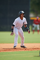 GCL Yankees East Starlin Paulino (10) leads off during a Gulf Coast League game against the GCL Phillies East on July 31, 2019 at Yankees Minor League Complex in Tampa, Florida.  GCL Yankees East defeated the GCL Phillies East 11-0 in the first game of a doubleheader.  (Mike Janes/Four Seam Images)