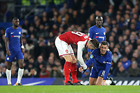 Granit Xhaka of Arsenal offers his hand to Chelsea's Eden Hazard after committing a rather cynical foul during Chelsea vs Arsenal, Caraboa Cup Football at Stamford Bridge on 10th January 2018