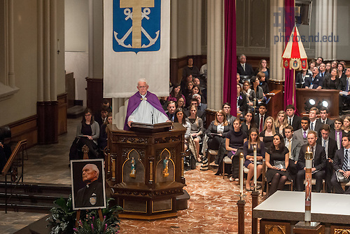 """Mar. 3, 2015; President Emeritus Rev. Edward """"Monk"""" Malloy, C.S.C. reflects on the life of President Emeritus Rev. Theodore M. Hesburgh at the wake service in the Basilica of the Sacred Heart. (Photo by Matt Cashore/University of Notre Dame)"""