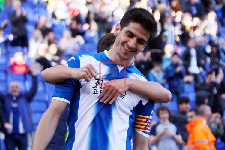 League Santander 2016/2017. Game: 24.<br /> RCD Espanyol vs CA Osasuna: 3-0.<br /> Gerard Moreno &amp; Oscar Melendo.