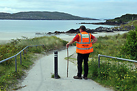 8-7-2017: walking on Derrynane Strand in County Kerry on Saturday in the Kerry Way Walk in aid of Breakthrough Cancer Research. The three day charity walk around South Kerry attracts walkers from all over Ireland and has raised over &euro;670,000 in its 14 year history.<br /> Photo Don MacMonagle<br /> <br /> Repro free photo breakthrough cancer research