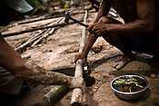 A villager is seen hammering the nails on the bamboo to rebuild the houses that were destroyed by cyclone Nargis in Thanlyin area, 70 kms east of the capital Yangon. With no help from anywhere, the villagers have taken it to themselves are are seen reconstructing their village slowly.